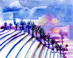 Puple-lndscape-with-snowcovered-field