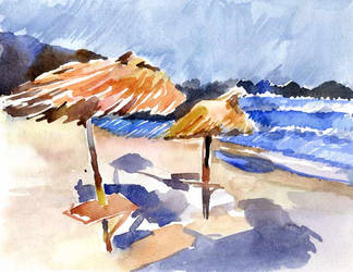 Stormy-beach-postcard by Joinerra