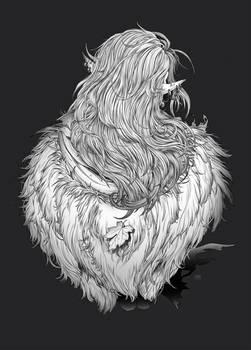 Elven warrior (back side sketch)