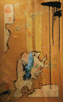 SOLD - Hummingbird and Desert Honeysuckle