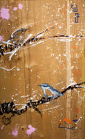 SOLD - Nuthatch w Birch Branch by JWPippen