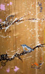 SOLD - Nuthatch w Birch Branch