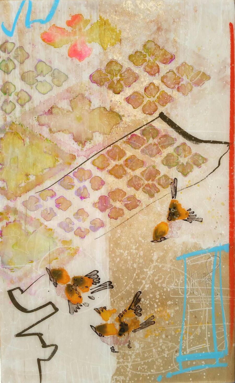 Finch and Kimono Pattern