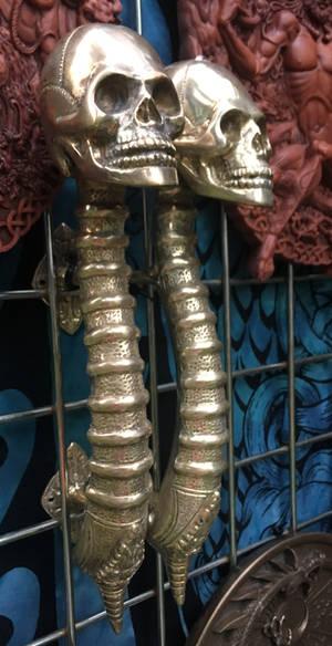 skull doorknob by yellowicous-stock