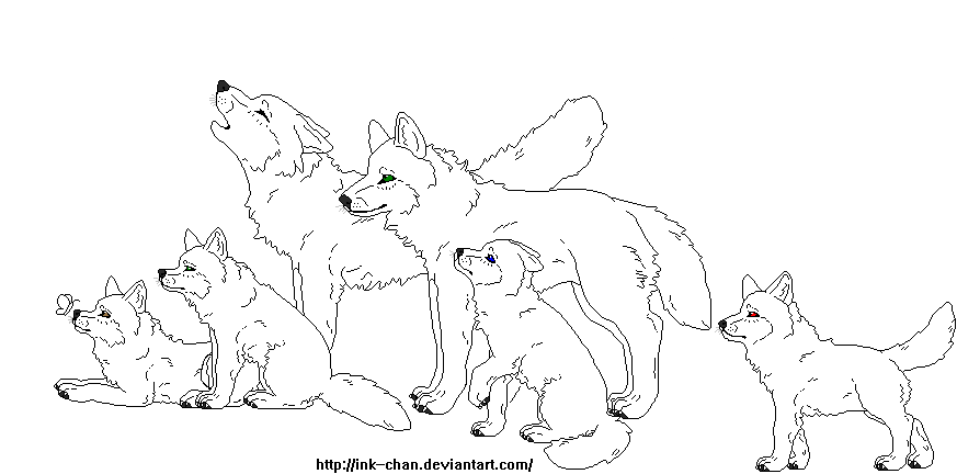 Wolf Family Lineart By Ink Chan