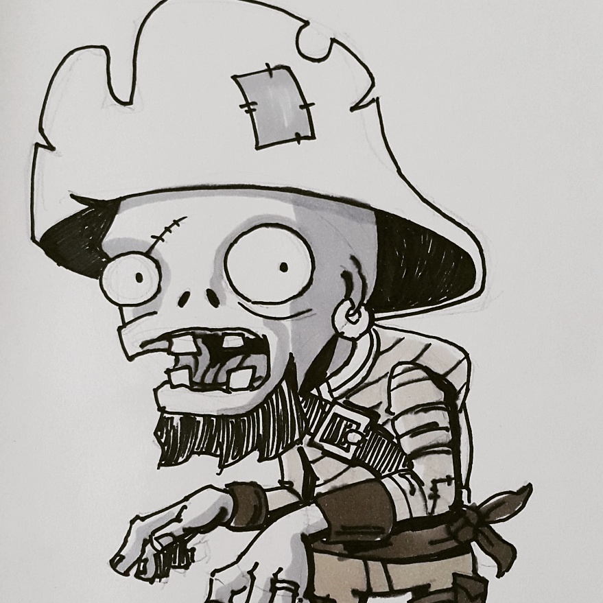 Inktober PvZ Pirate Zombie by sirandal