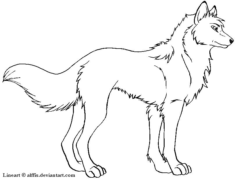 Wolf Lineart : Free wolf lineart by alffis on deviantart