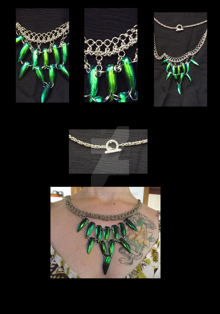 Chain Mail and Jewel Beetle Wing Necklace by SilverCircle on