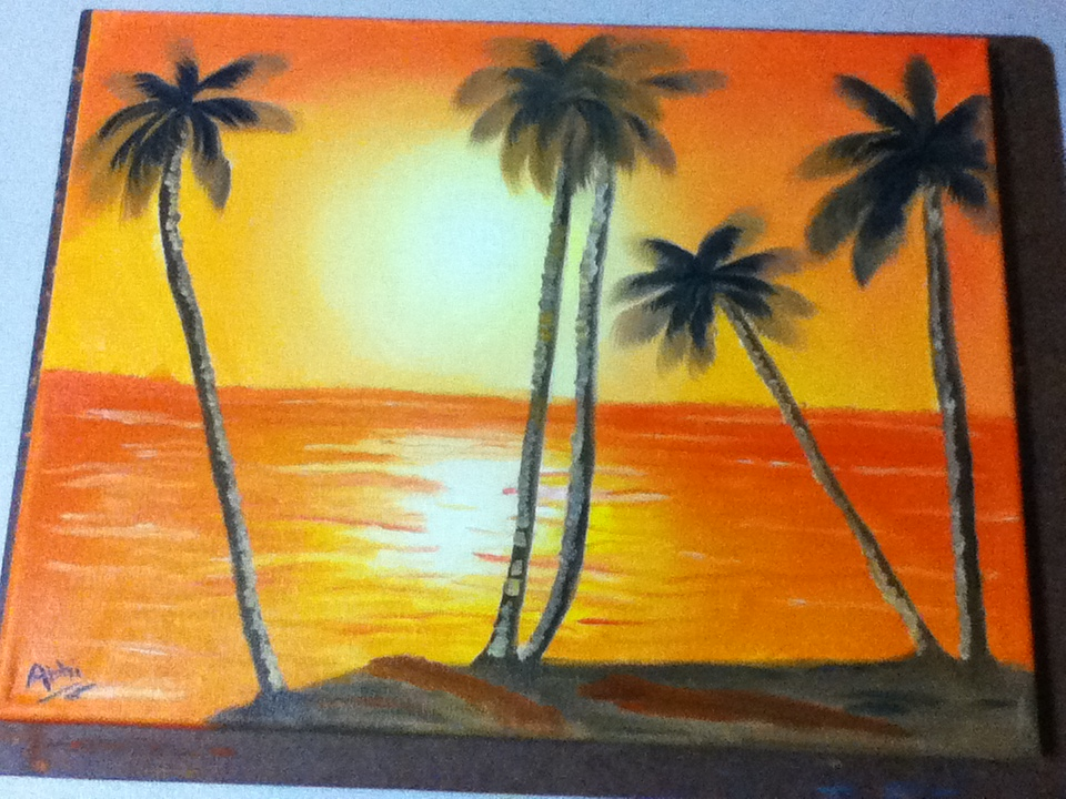 My Oil Painting Of Beach Sunset By IAwesomeNerd