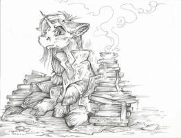 BookWorm (Line Art) by Taski-Guru