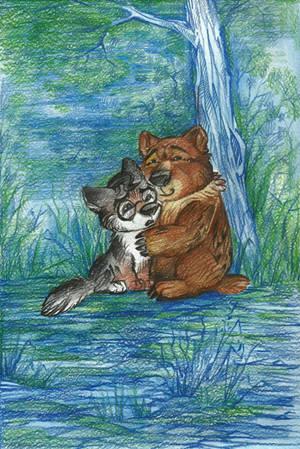 Bear and Wolf by Taski-Guru