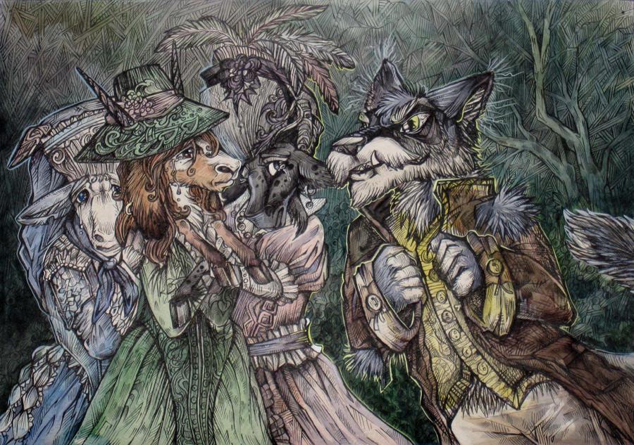 Goats and Wolf by Taski-Guru