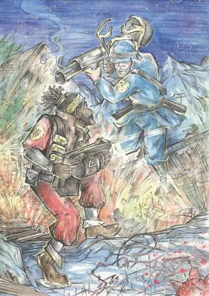 Demoman vs Soldier by Taski-Guru