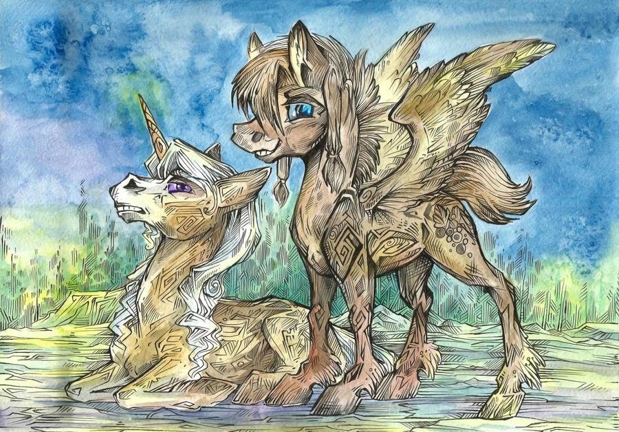 Pegasus and Unicorn by Taski-Guru