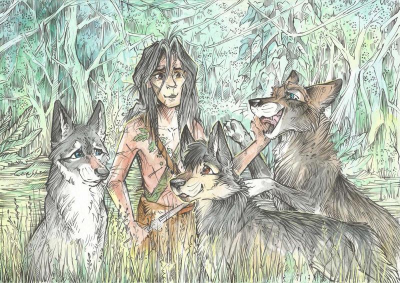 Mowgli and his Brothers by Taski-Guru