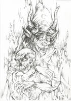 Gamzee and Caliborn (Line art) by Taski-Guru