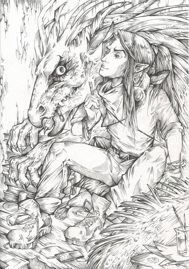 Demiurge and Dragon (Line art) by Taski-Guru