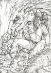 Demiurge and Dragon (Line art)
