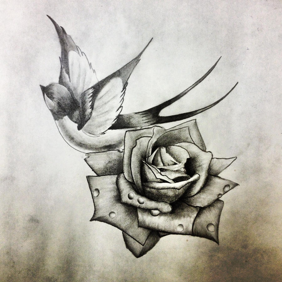 Another swallow and rose by dazzbishop on deviantart for Swallow art tattoo