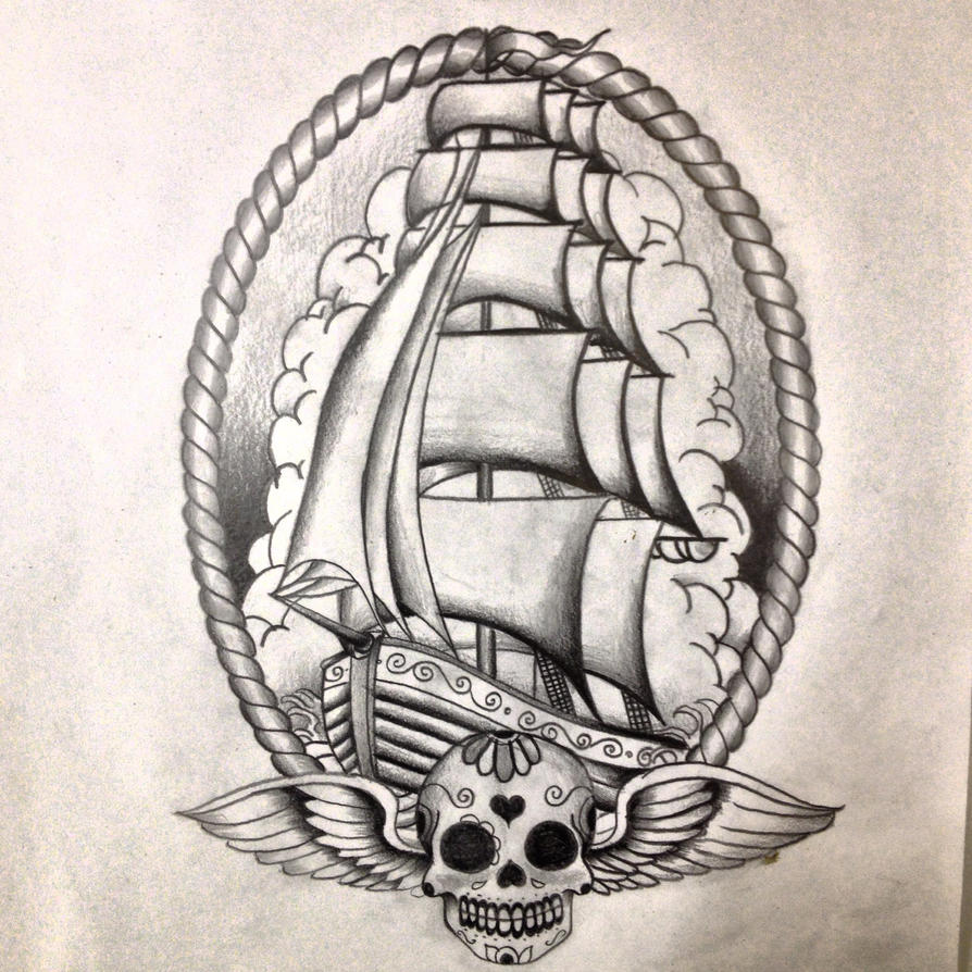 famous pirate ship tattoo drawing