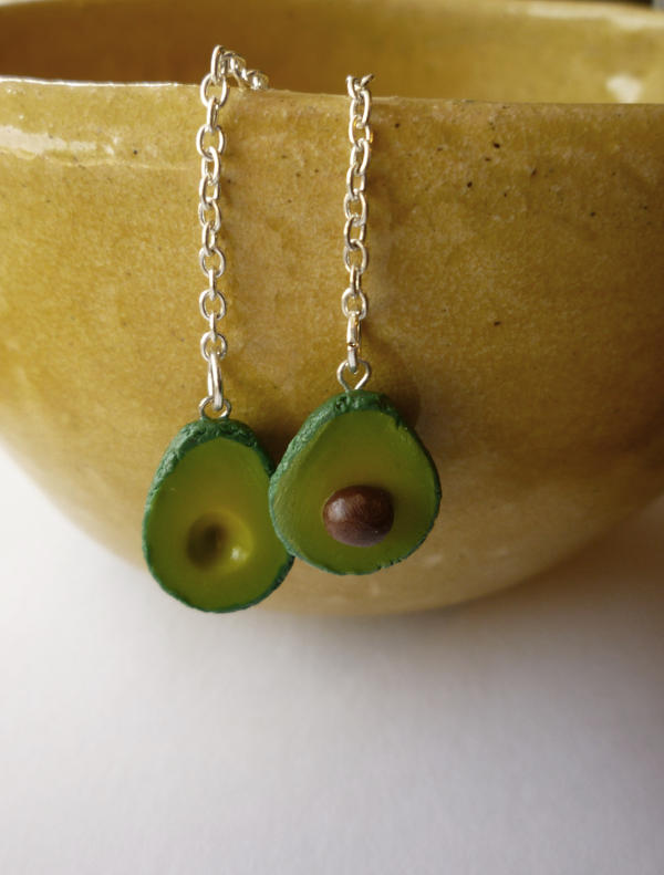 Avocado Polymer Clay Earrings ~ For sale!