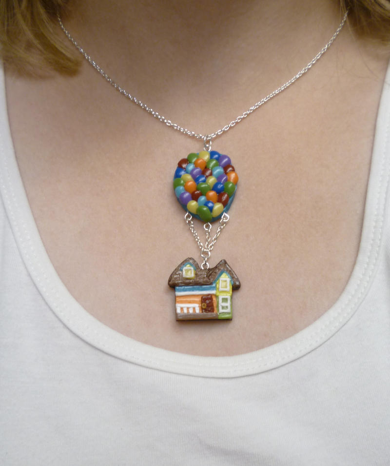 Flying House with Balloons Necklace
