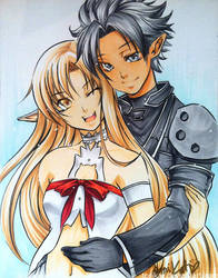Sword Art Online - Kirito and Asuna by torikat