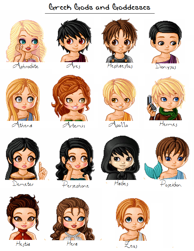 Greek Gods and Goddesses by MadieKristineCAnime Greek Gods And Goddesses