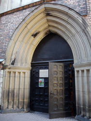 A gothic entrance to the church