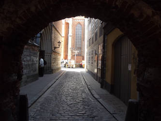A medieval street in Riga