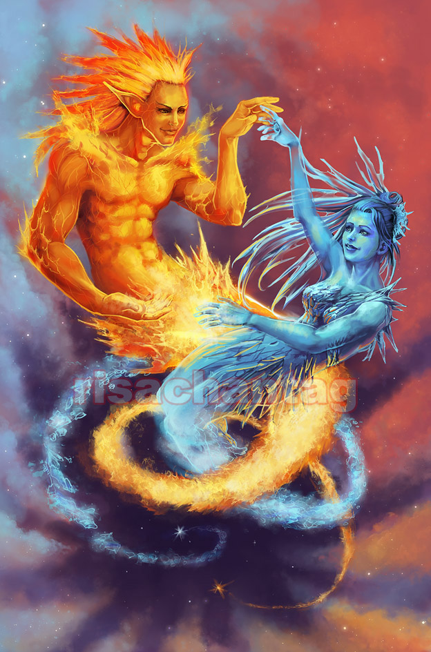 fire and ice by nvrdi on DeviantArt |Drawing Fire And Ice Themed