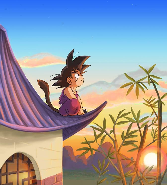 DB: Chibi Gokuu Sunset by Risachantag