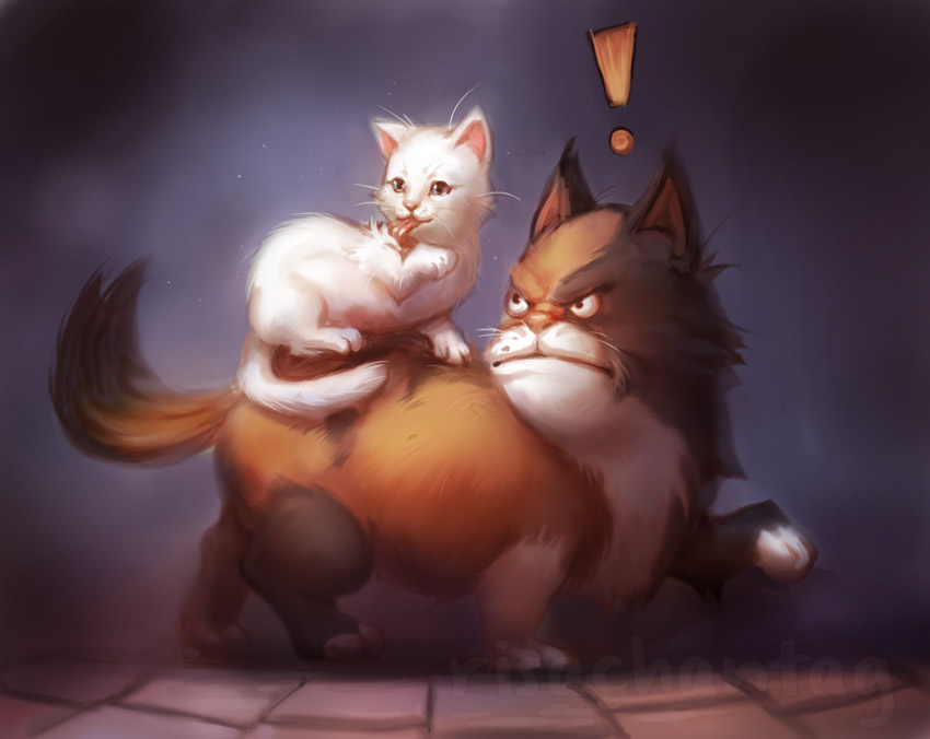 Angry Cat and the Cute Kitten by Risachantag