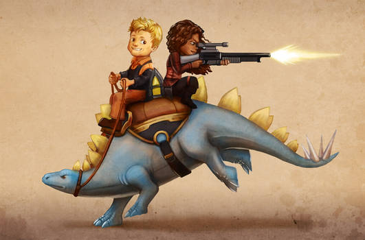 Firefly: Wash and Zoe on a Dinosaur