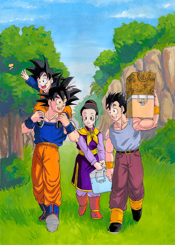 DBZ__Son_Family_Painting_by_Risachantag
