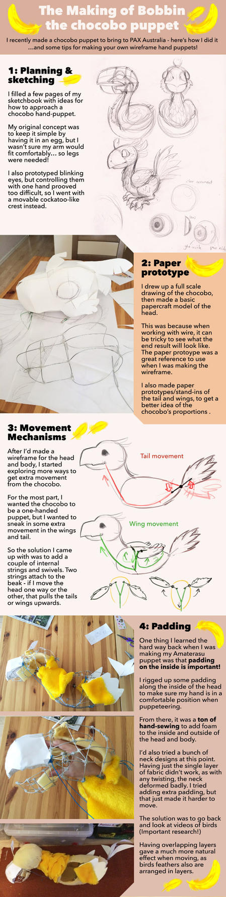 Making of a Chocobo Puppet Part 1 by Risachantag