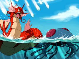 Pokemon Battle: Gyarados Vs. Wild Tentacruel by S-hui
