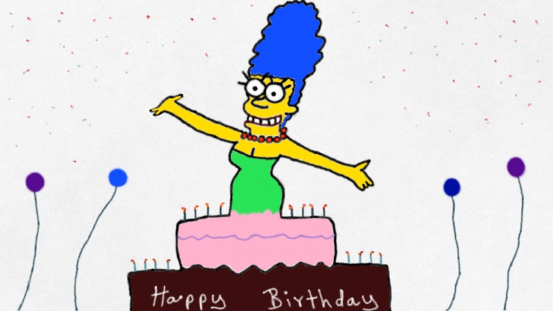 Marge wishes all a happy birthday by Micky1966