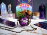 Purple triple moon vial necklace by Ilvirin