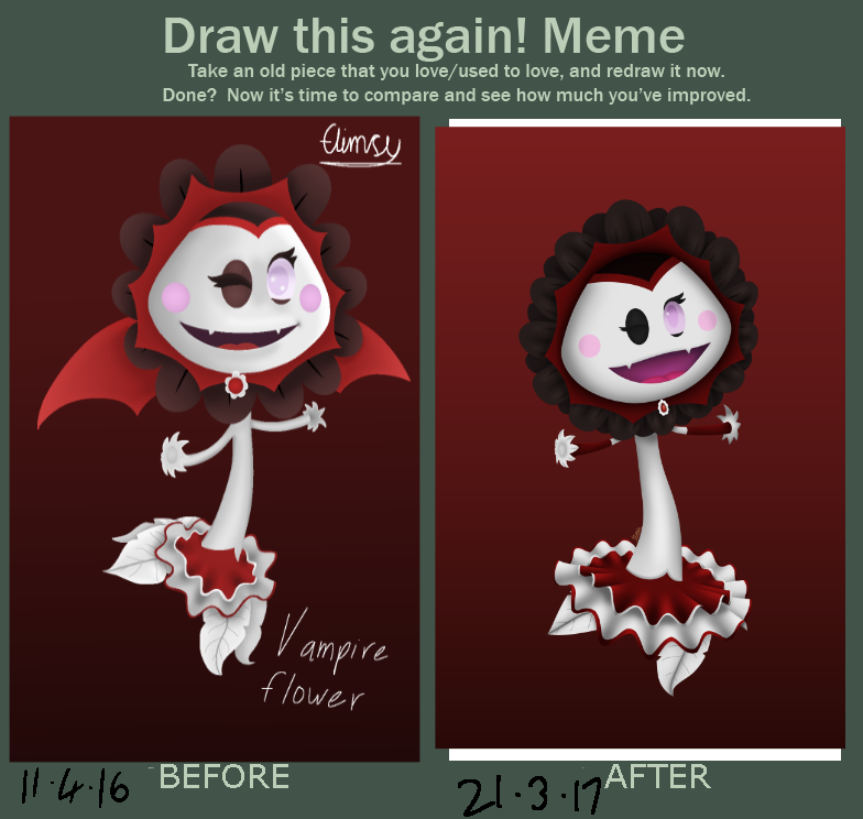 Before and after Vampire Flower by FlimsyCone