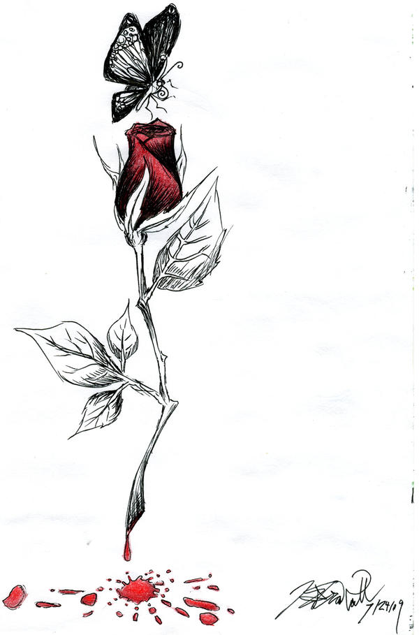 Bleeding rose by kcjoker33 on deviantart for Hand holding a rose drawing