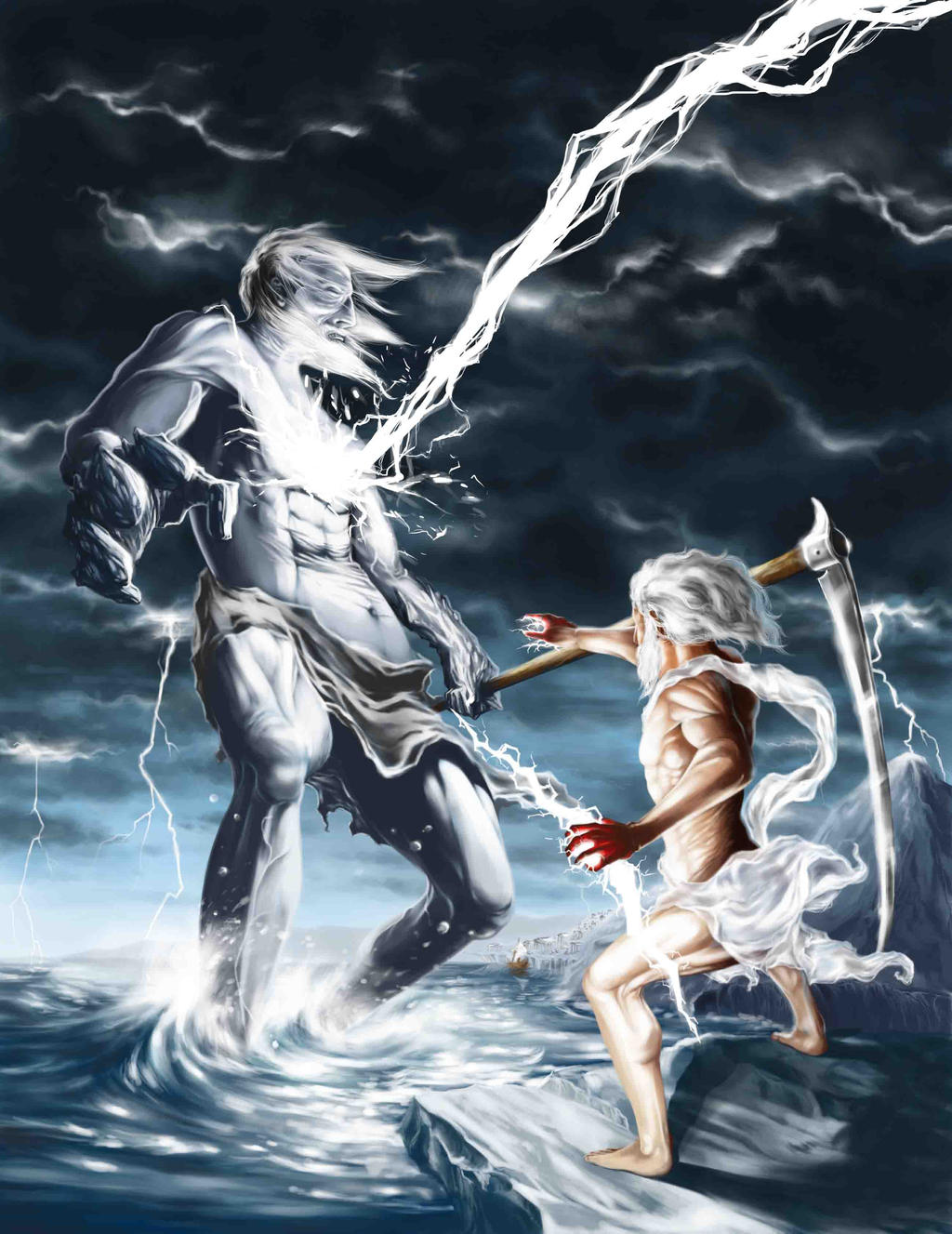 Zeus punishment by Jua... Zeus Digital Painting
