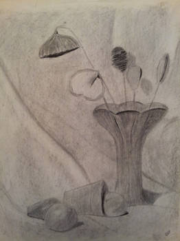 Vase Still Life in charcoal maybe in 2000