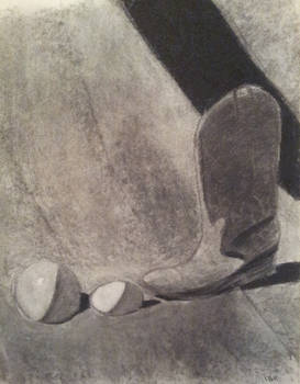 Boot Still Life in charcoal maybe in 2000