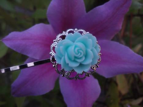 Blue Rose Silver Hair Pin