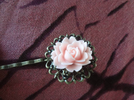 Antique Brass Filigree Hair Pin with Pink Rose