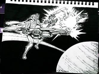 Inktober 2018, Day 21: Space Battle by CJyamaue
