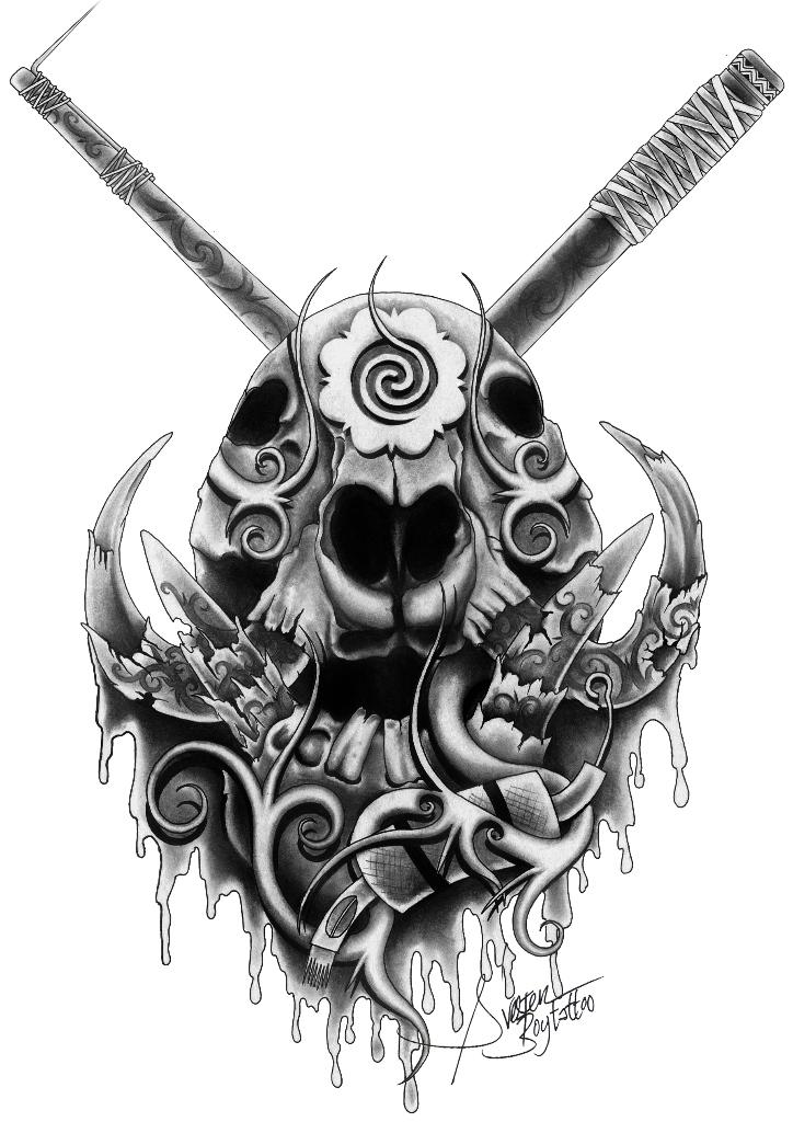 Kenarau i logo wildboar skull by sylvesterjuli on for Tattoo style logo design