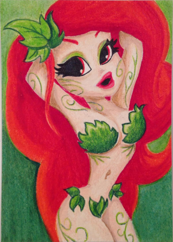 ACEO Original Poison Ivy Trading Card by ariess