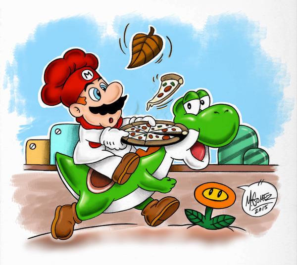 Yoshi and Mario by Insanemoe